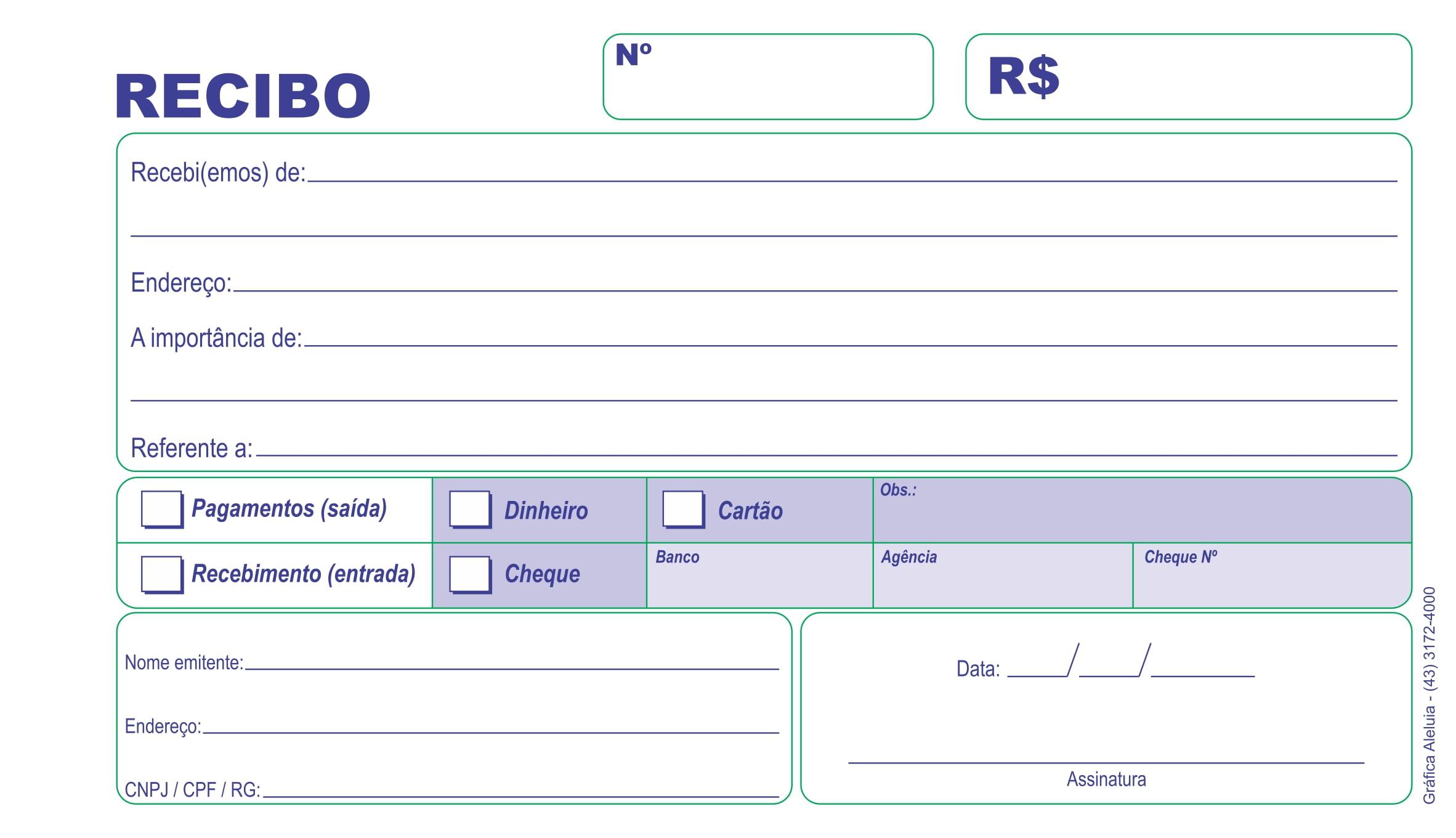 TALÃO DE RECIBO EXTRA COPY 11X21 CM - INTERDen. c/ 5 blocos