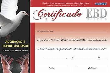 Certificado de conclusão de estudo da Revista de Escola Bíblica Dominical nº 81