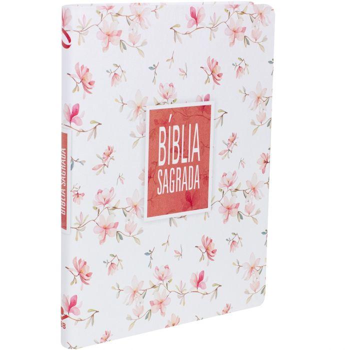 BIBLIA SAGRADA SLIM FLORAL BRANCA