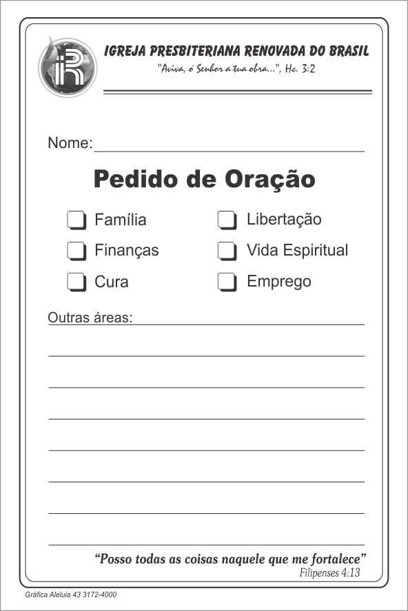 PEDIDO DE ORAÇÃO COM 50 FLS