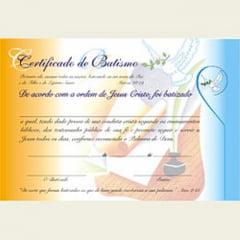 Certificado de Batismo interdenominacional com 20 unid.