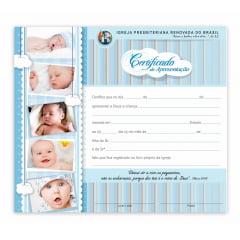 Certificado de apresentação de crianças c/ 10 unids c/logo IPRB Menino